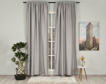 Silver Grey Solid Colors,Window Curtain 2 panel sets,Blackout,Room darkering,Custom size,Made to order,Thermal insulated,Noise reducing,Gray