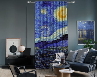 Vincent Van Gogh - Starry Night Panel 3,Window Curtain 1 panel,Blackout,Room darkering,Custom size,Termal insulited,Noise reducing