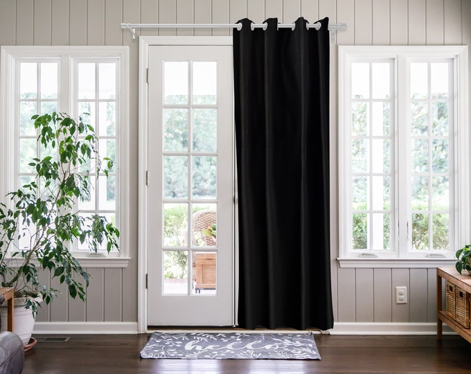 Black Solid,Door Curtain 2 panel sets,Room Divider,Space Divider,Extra Long Door Curtain,Custom Order,Thermal insulated,Noise reducing