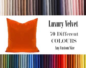 Orange Luxury Velvet Throw Pillow,70  Colours Velvet Pillow Cover, Decorative Velvet Pillow, Velvet Cushion Case, Velvet Pillows,Custom size