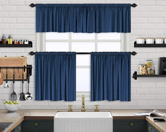 Linen Look,Solid Color,Window Valance Treatments,Blackout,Sheer,Decorative,Valances Tiers Cafe Curtains,Custom Window Kithcen Curtain