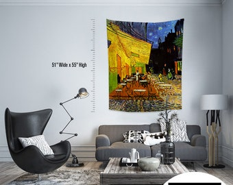 Vincent Van Gogh - Caffe Terrace at Night,Fabric Wall Hanging,Tapestry,Textile Wall Hang,Wall Decoration,Master Piece Tapestry