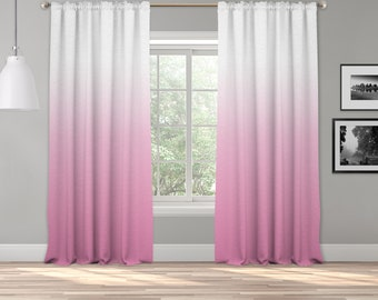 Pink Ombre Curtain Panel,Shades Ombre,Gradient Multicolor,Custom Size,Made To Order,Extra Long Size,Boho Dip Dye Curtain,Digital Ombre