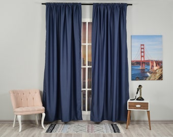 Navy Blue  Color Solid Colors,Window Curtain 2 panel sets,Blackout,Room darkering,Custom size,Made to Order,Thermal insulated,Noise reducing