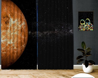 Space-X-XVIIII,Window Curtain 2 panel sets,Blackout,Room darkering,Custom size,Made to order,Thermal insulated,Noise reducing