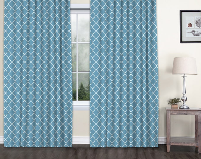 Classic Damask,Blue,Window Curtain 2 panels Set,Blackout,Room Darkering,Custom size,Termal insulated,Noise reducing,Window Treatments