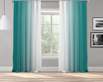 Teal Green Ombre Curtain Panel,Shades Symmetrical Ombre Custom Sized,Made To Order,Extra Long Curtain,Boho Dip Dye Curtain,Digital Ombre