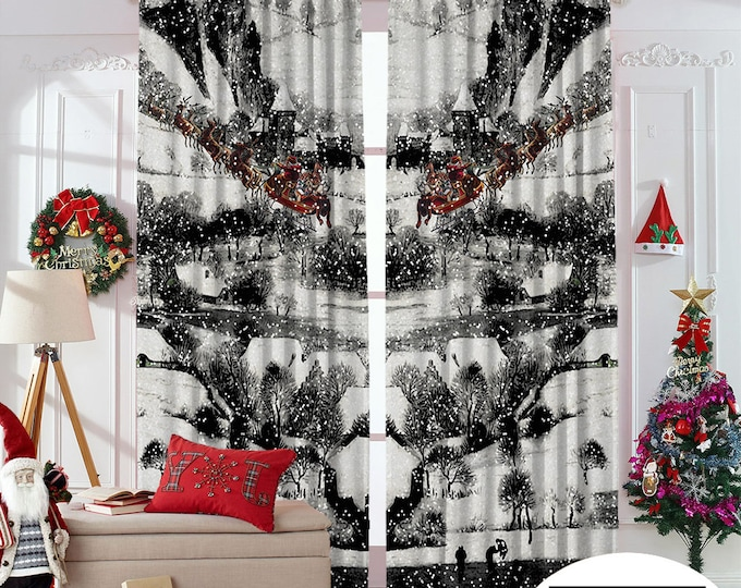 Christmas Home Decor,New Year,Noel Decoration,Window Curtain,Blackout,Home Decor,Room Darkering,Custom Size,Made to order,Digital Printed