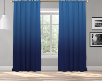Navy Blue Ombre Curtain Panel,Shades Ombre,Gradient Multicolor,Custom Size,Made To Order,Extra Long Size,Boho Dip Dye Curtain,Digital Ombre