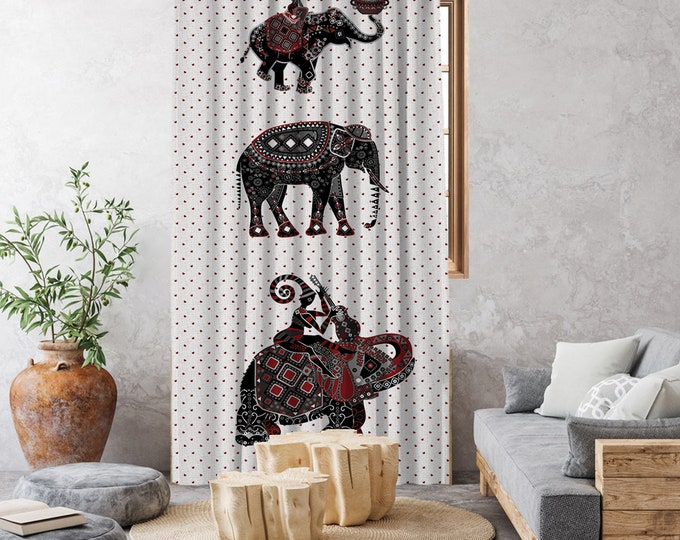 Ethnic,Elephants Illustration 1,Window Curtain 1 panel,Blackout,Room darkering,Custom size,Made to order, Termal insulited,Noise reducing