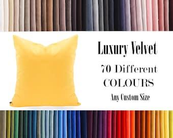 Yellow Luxury Velvet Throw Pillow,70  Colours Velvet Pillow Cover, Decorative Velvet Pillow, Velvet Cushion Case, Velvet Pillows,Custom size