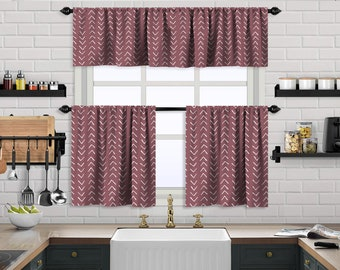 Rose Pink Boho Kitchen Curtain,African Mud,Window Valance,Blackout,Sheer,Decorative,Home Decor,Caffe Curtain,Custom Size,Made to order