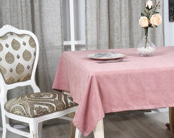 Pink Velvet Look Tablecloth  31 colors, Softened Velvet Look Tablecloth,Tablecloth with Mitered Corners,Custom Size Tablecloth, Table cloth