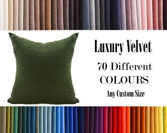 Dark Green Luxury Velvet Throw Pillow,70  Colours Velvet Pillow Cover, Decorative Velvet Pillow, Velvet Cushion Case, Velvet Chusion Cover