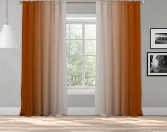 Burnt Orange Grey Ombre Curtain Panel,Shade Symmetrical Ombre Custom Sized,Made to Order,Extra Long Curtain,Boho Dip Dye Curtain,Digital