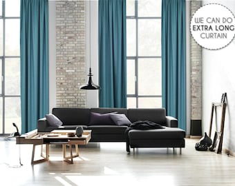 Extra Long Luxury Solid Teal Green Linen Look Curtain Custom Made 12 13 14 15 16 17 18 20 24 ft Sea Blue Colors Linen Decorative Home Modern