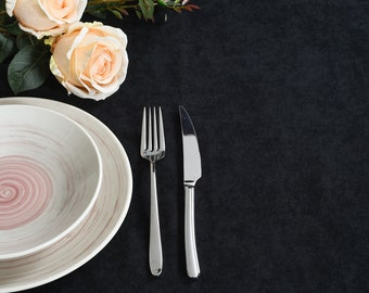 Black Velvet Look Tablecloth,31 colors,Softened Velvet Look Tablecloth,Tablecloth with Mitered Corners,Custom Size Tablecloth, Table cloth