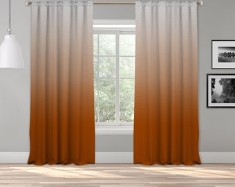 Burnt Orange/Grey Ombre Curtain Panel,Shades Ombre,Gradient Multicolor,Custom Size,Extra Long Size,Boho Dip Dye Curtain,Digital Ombre