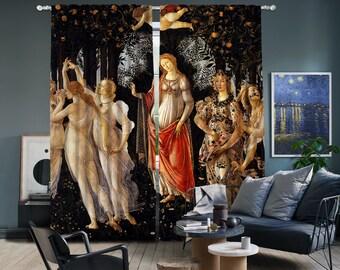 Sandro Botticelli - Primavera II.part,Window Curtain 2 panels set,Blackout,Room darkering,Custom size,Termal insulited,Noise reducing