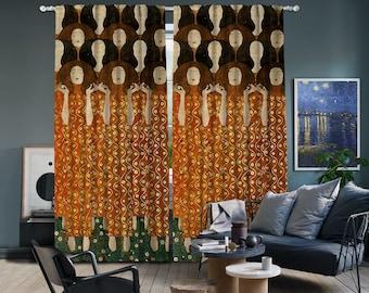 Gustav Klimt-Beethoven Frieze,Window Curtain 2 panels set,Blackout,Room darkering,Custom size,Made to order, Termal insulited,Noise reducing