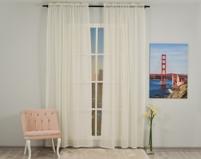 Cream Linen Look Sheers curtain Panels,Rod Pocket Sheer Curtains,Custom size,Sheer,Linen Window Curtains,Made By order,Shabby Chic,Ecru