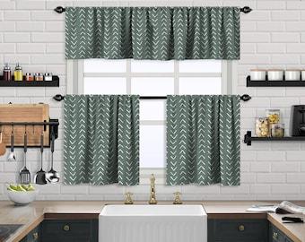 Dark Mint Boho Kitchen Curtain,African Mud,Window Valance,Blackout,Sheer,Decorative,Home Decor,Caffe Curtain,Custom Size,Made to order