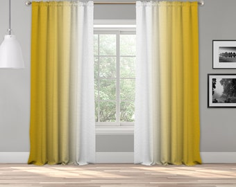 Yellow White Ombre Curtain Panel,Shades Symmetrical Ombre Custom Sized,Made To Order,Extra Long Curtain,Boho Dip Dye Curtain,Digital Ombre