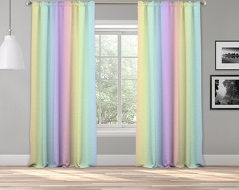Unicorn Ombre Curtain Panel,Shades Ombre,Gradient Multicolor,Custom Size,Made To Order,Extra Long Size,Boho Dip Dye Curtain,Digital Ombre