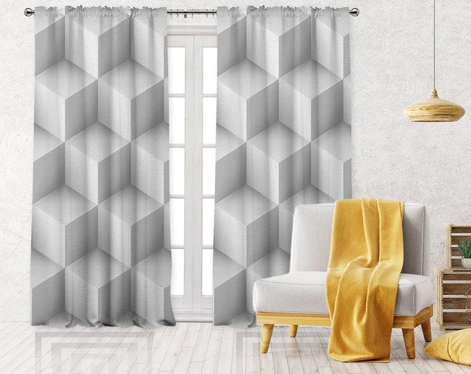 White Abstract Square Print,Minimalist Modern Farmhouse Curtain,Boho Art Gallery Decor,Custom Curtain Panel,Blackout,Sheer,Decorative