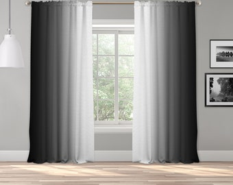 Black White Ombre Curtain Panel,Shades Symmetrical Ombre Custom Sized,Made To Order,Extra Long Curtain,Boho Dip Dye Curtain,Digital Ombre
