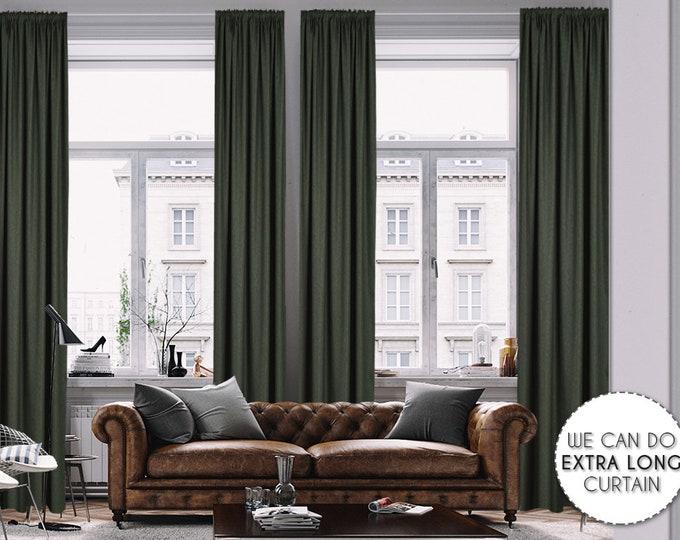 Extra Long Luxury Solid Dark Green Linen Look Curtain Custom Made 12 13 14 15 16 17 18 20 24 ft Green Colors Linen Decorative Home Modern