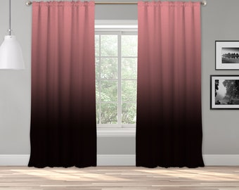 Pink Black Ombre Curtain Panel,Shade,Ombre,Gradient Multicolor,Custom Size,Made To Order,Extra Long Size,Boho Dip Dye Curtain,Digital Ombre