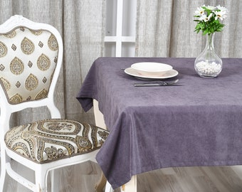Grey Velvet Look Tablecloth  31 colors, Softened Velvet Look Tablecloth,Tablecloth with Mitered Corners,Custom Size Tablecloth, Table cloth