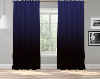 Blue Black Ombre Curtain Panel,Shade,Ombre,Gradient Multicolor,Custom Size,Made To Order,Extra Long Size,Boho Dip Dye Curtain,Digital Ombre