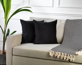 Black,Set of 2 Pillow Covers,Luxury Sofa Cushion,Modern Sofa,Kissenbezug,Cushion,Throw Cushions,Solid Colors Velvet look
