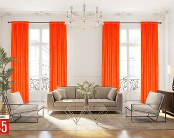 Extra long Luxury Velvet Curtain,Neon Orange Color Dining Room Curtain,Bedroom,Velvet Fabric,Custom Made 12 13 14 15 16 17 18 20 24 ft