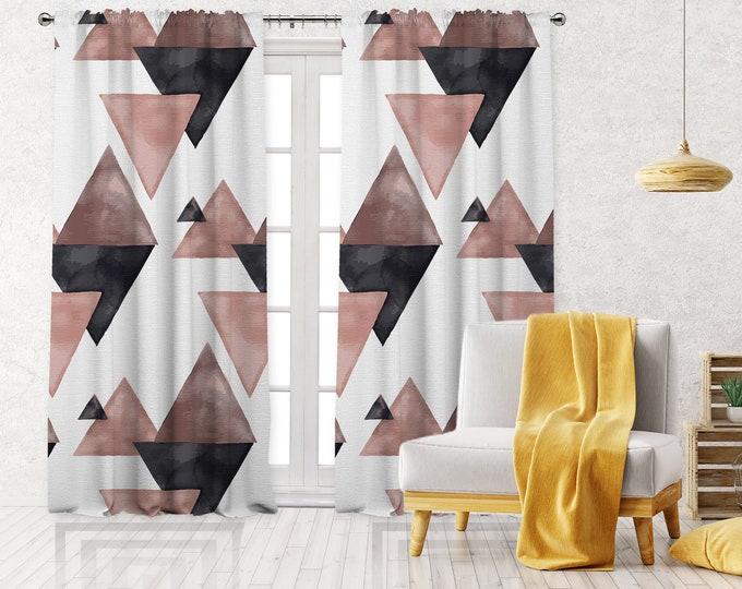 Abstract Square Print,Minimalist Modern Farmhouse Curtain,Boho Art Gallery Decor,Custom Curtain Panel,Blackout,Sheer,Decorative