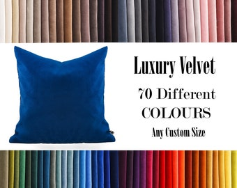Blue Luxury Velvet Throw Pillow,70  Colours Velvet Pillow Cover, Decorative Velvet Pillow, Velvet Cushion Case, Velvet Pillows,Custom size