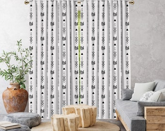 New White Boho Curtain,African Mud,Window Treatments,Blackout,Sheer,Decorative,Home Decor,Living Room,Room,Custom Size,Made to order