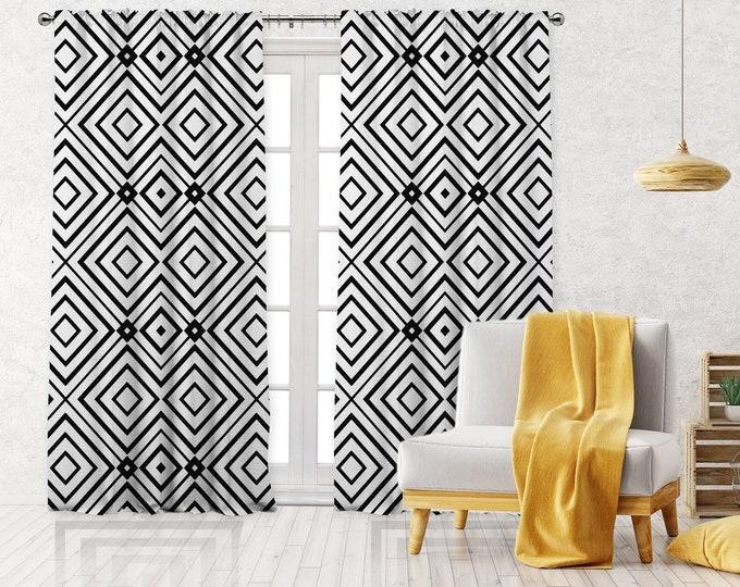 Black White Abstract Square Print,Minimalist Modern Farmhouse Curtain,Boho Art Gallery Decor,Custom Curtain Panel,Blackout,Sheer,Decorative