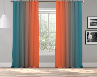 Orange Teal Green Ombre Curtain Panel,Shade Symmetrical Ombre Custom Sized,Made to Order,Extra Long Curtain,Boho Dip Dye Curtain,Digital