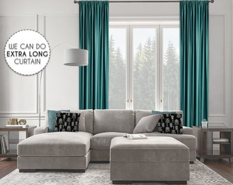 Extra Long Room Darkeing,Teal Green Color,Blackout,Room Darkering,Thermal insulated,Noise reducing,Custom Made 12 13 14 15 16 17 18 20 24 ft