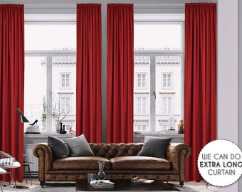 Extra Long Luxury Solid Burgundy Linen Look Curtain Custom Made 12 13 14 15 16 17 18 20 24 ft Dark Red Colors Linen Decorative Home Modern