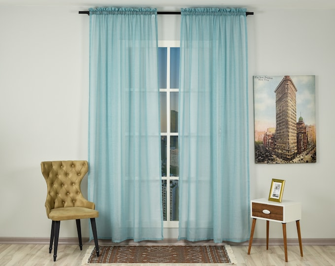 Blue Dusty Linen Look Sheers curtain Panels,Rod Pocket Sheer Curtains,Custom size,Sheer,Linen Window Curtains,Made By order,Shabby Chic,Teal