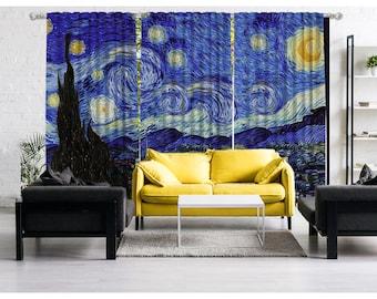 Vincent Van Gogh - Starry Night Full version,Window Curtain 3 panels set,Blackout,Room darkering,Custom size,Termal insulited,Noise reducing