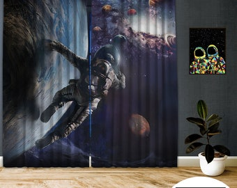 Space-X-XVI,Window Curtain 2 panel sets,Blackout,Room darkering,Custom size,Made to order,Thermal insulated,Noise reducing