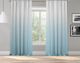 Baby Blue Ombre Curtain Panel,Shades Ombre,Gradient Multicolor,Custom Size,Made To Order,Extra Long Size,Boho Dip Dye Curtain,Digital Ombre