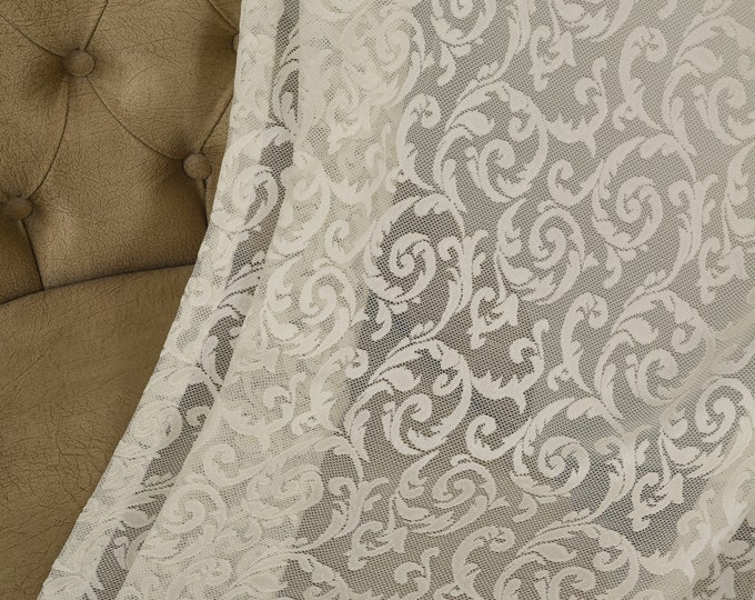 Cream Lace Classic Sheers curtain Panels,Rod pocket curtains,Custom size,Custom made,Sheer,Linen Window Curtains,Made By order,Shabby Chic