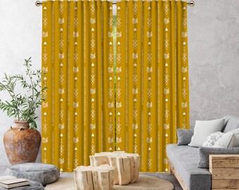 New Mustard Yellow Boho Curtain,African Mud,Window Treatments,Blackout,Sheer,Decorative,Home Decor,Living Room,Room,Custom Size,Kids Room