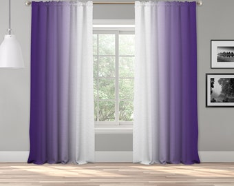 Purple White Ombre Curtain Panel,Shades Symmetrical Ombre Custom Sized,Made To Order,Extra Long Curtain,Boho Dip Dye Curtain,Digital Ombre